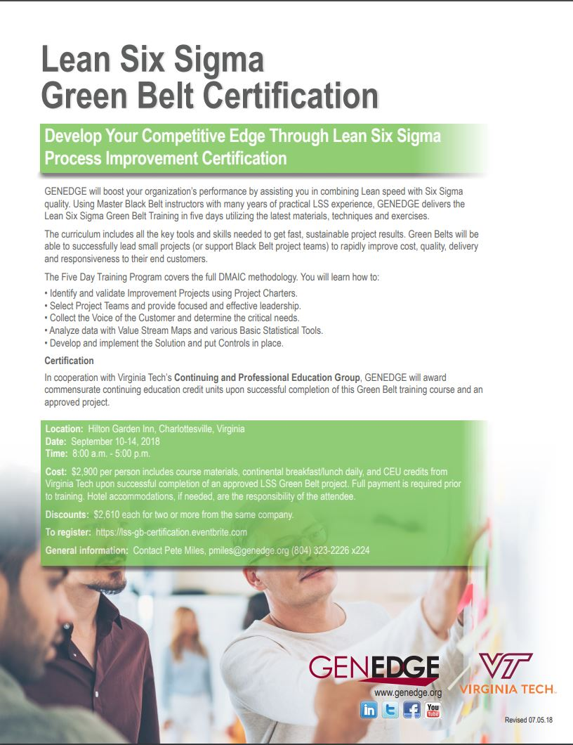 Lss Green Belt Certification Charlottesville Virginia